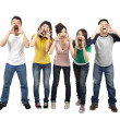 Young friends shouting together — Stock Photo
