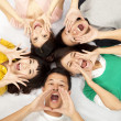 Group of young asian are shouting - Stock Photo