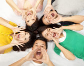 Group of young asian are shouting — Stock Photo