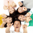 Happy asian young group pointing at you — Stock Photo