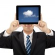 Smiling businessman holding tablet pc and cloud thinking concept — Stock Photo