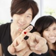 Smiling fingers of happy couple — Stock Photo