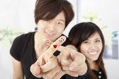 Smiling fingers of happy couple — Stock Photo