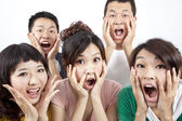 Closeup portrait of young group and surprised — Stock Photo