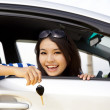 Royalty-Free Stock Photo: Young happy woman in car showing the keys