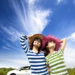 Stock Photo: Happy young woman enjoy vacation on road trip