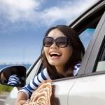 Happy woman Sitting In Car — Stock Photo