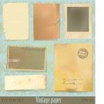 Vintage papier en schroot collectie — Stockvector