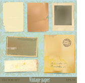 Vintage paper and scrap collection — Stock Vector