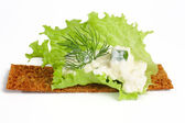 Delicious crispbreads with cottage cheese , fennel and salad sh — Stock Photo