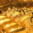 Gold jewelry background / soft selective focus - Stok fotoğraf