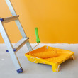 Home Improvement / ladder, paint can and paint roller — Stock Photo #5494297