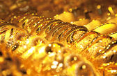 Gold jewelry background / soft selective focus — Fotografia Stock