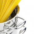 Royalty-Free Stock Photo: Italian cooking / saucepan with spaghetti / isolated on white