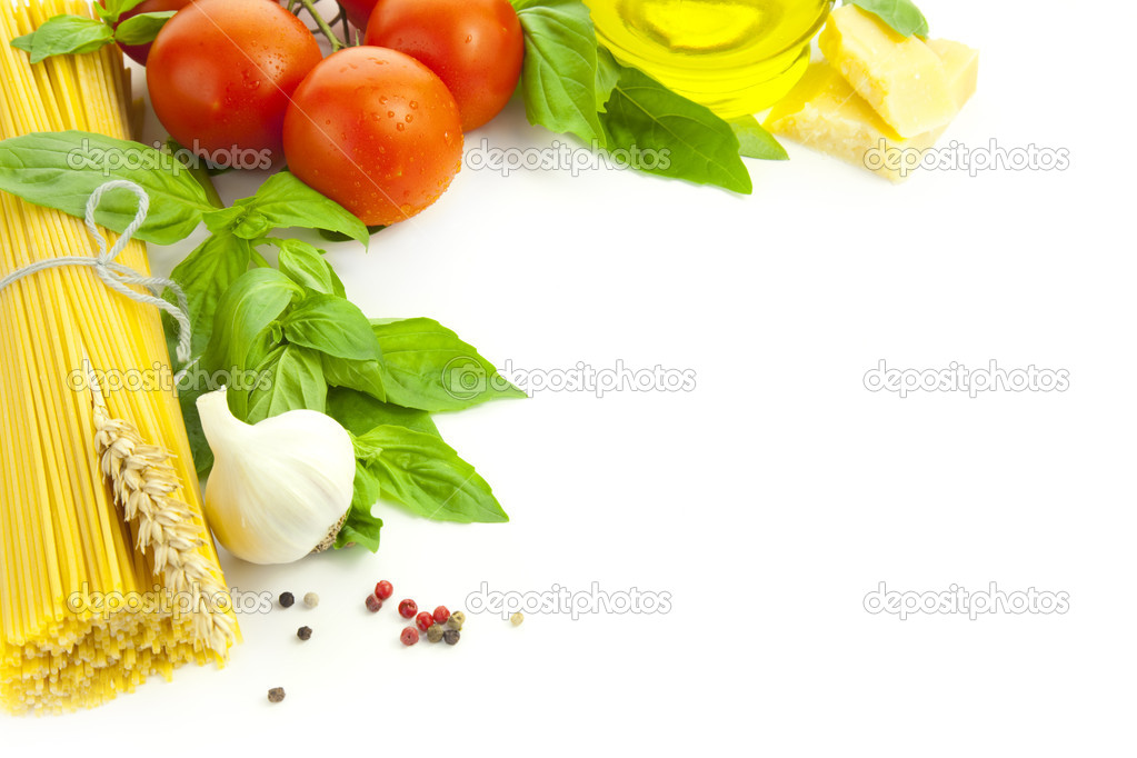 Ingredients for Italian cooking / frame composition / isolated on white — Stock Photo #5985846