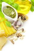 Italian food / pesto and pasta / border composition — Stock Photo