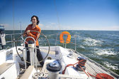 Young Man is Sailboat Captain — Stock Photo