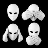 See nothing, hear nothing, nothing will not tell anyone / mask a — Stock Photo