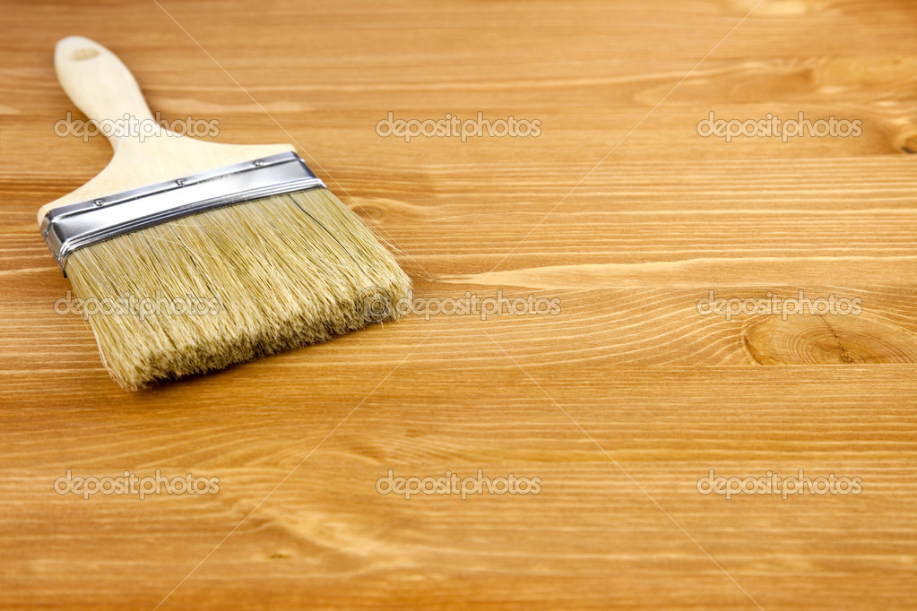 Wood texture and paintbrush / housework background — Stock Photo #6157350