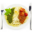 Italian flag - pasta with green pesto, white parmesan and red to — Stock Photo