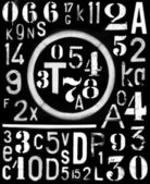 Spray-paint industrial font and number alpha template for 3d — Stock Photo
