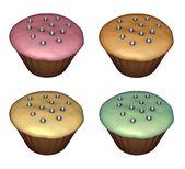3d 呈现器的杯子蛋糕上用不同的颜色白 — 图库照片