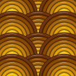 3d render of circular tubes pattern in yellow orange brown - Stock Photo