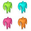 Soft shaded 3d render of character in 4 different colors on whit — Stock Photo #5596152