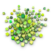 3d render large stack of green cubes on white — Stock Photo