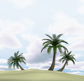 3d render of island with palm-trees and cloudy blue sky — Foto Stock
