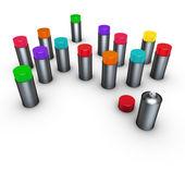 Grupo 3d de latas de spray em diferentes cores em branco — Fotografia Stock
