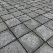 HD 3d render of square pavement tiles in gray stone concrete — Stock Photo