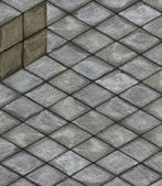 Isometric 3d render stone tiled cube on tiled pavement — Stock Photo