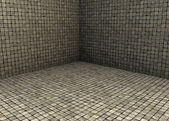 3d render beige tiled mosaic stone empty space — Stock Photo