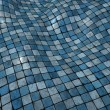 Stock Photo: 3d render blue wobble mosaic tile floor wall surface