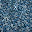 3d render blue wobble mosaic tile floor wall surface — Stock Photo
