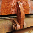 Detail view of an industrial rusty steel hinge — Stock Photo #6685856