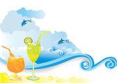 Summer beach drink — Stock Vector