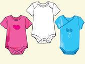 Baby onesie set in different styles — Stock Vector