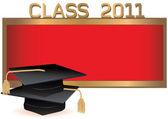 Graduation invitation card with mortars — Stock Vector