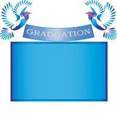 Graduation banner with doves and mortars — Stock Vector