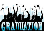 Graduation in silhouette — Stock Vector