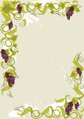 Grapes menu card with vines with leaves. — Stock Vector