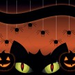 Black cat on a Halloween - Stock Vector