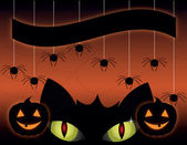 Black cat on a Halloween — Stock Vector