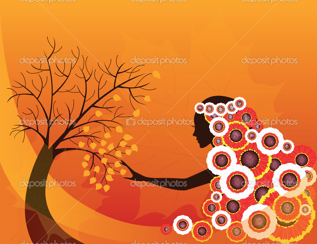 Elegant abstract  autumn girl or woman , vector — Stock Vector #6457188