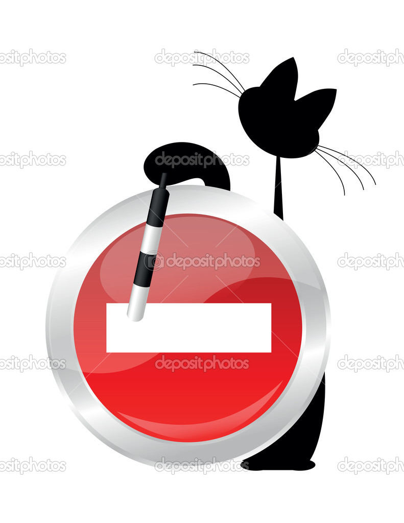 Black cat with sing-board on white background — Stock Vector #6492457