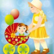 Little Girl playing with a baby carriage and doll, vector illustration — Stock Vector