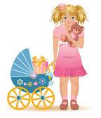 Little girl with teddy bear, vector illustration — Stock Vector