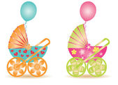 Two beautiful baby carriage, vector illustration — Stock Vector